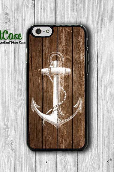 iPhone 6 Case - Old Wood Brown White Anchor Paint iPhone 6 Plus, iPhone 5S Case, iPhone 5 Case, iPhone 5C Case, iPhone 4S Case, iPhone 4#1-45