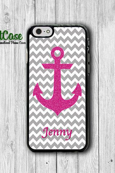 Customized Pink Glitter Grey Chevron iPhone 6/6S Case iPhone 5 / 5S iPhone 5C Personalized Christmas Gift Name Engrave iPhone 4 / 4S Lovely#1-59