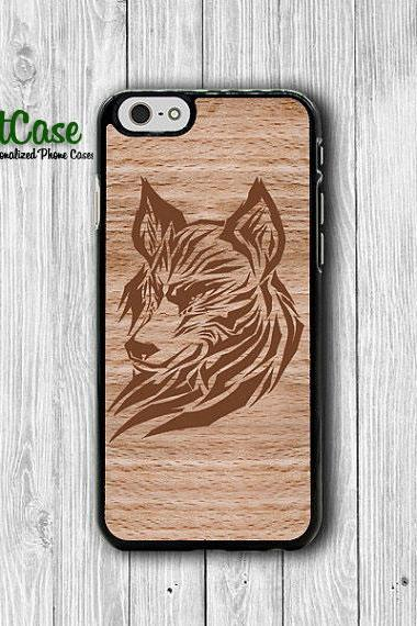 Wolf Tribal Aztec Wood iPhone 6 Cases,Japanese Geometric Wood iPhone 5S, iPhone 4, iPhone 4S Hard Case, Rubber Covers Deco Accessorie Cover#1-60