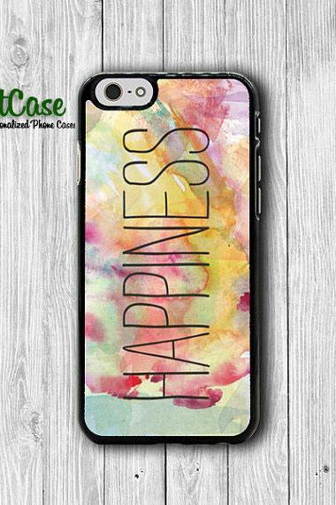 iPhone 6 Case - Watercolor Art Messy Quote for Happiness Painting Phone Cases, iPhone 5, 5S, iPhone 4,4S Cover, Personalized Custom Gift#1-69