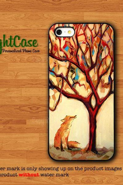 Fox Painting Case IPhone 4S Case Strong Animals Waiting IPhone 5S Abstract Tree Drawing IPhone 6 IPhone 6 Plus Samsung Galaxy S5 S4#1-93